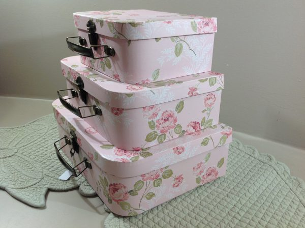 Clayre & Eef set 3 bauletti fondo rosa con rose