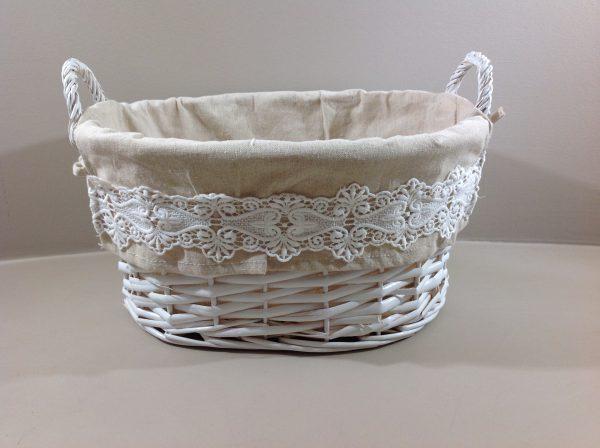 Coccole di Casa cesto ovale in vimini bianco con tessuto e pizzo mis. m