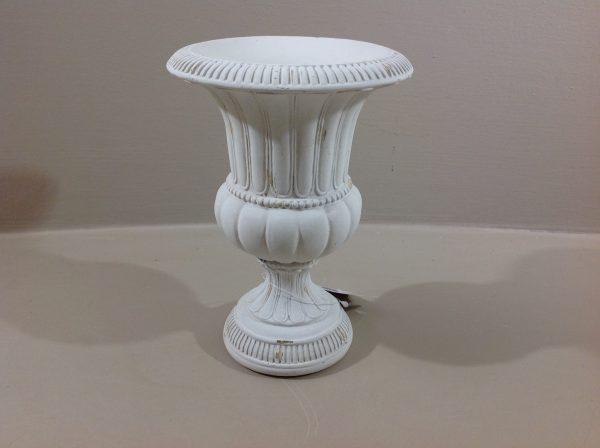 Coccole di Casa Piccolo vaso mediceo bianco decapato in resina