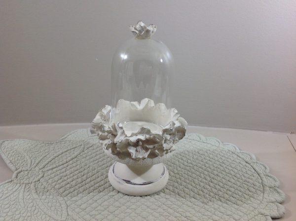 Coccole di Casa Alzatina in resina con rose panna e vetro