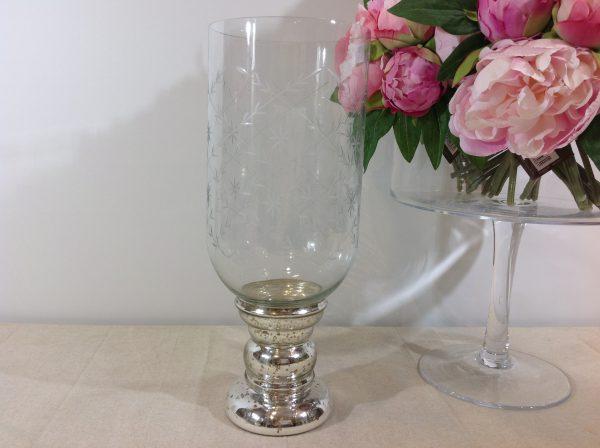 Hoff Interieur Candeliere in vetro intagliato con base in vetro argentato invecchiato