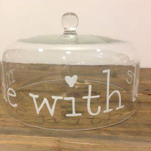 Simple Day Campana in vetro con scritta bianca - Made with love - cm. 28,50
