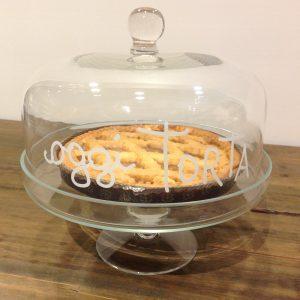 Simple Day Campana vetro cm. 24,50 con scritta bianca - Oggi torta