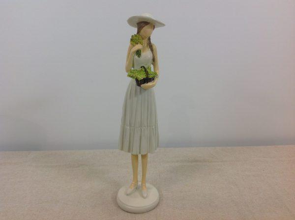 Amadeus Statua donna con cesto di verde e fiori