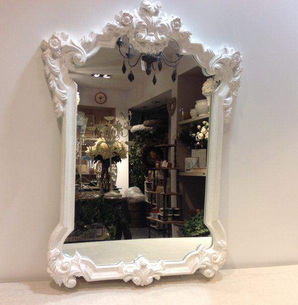 Coccole di Casa Specchio bianco lavorato rettangolare
