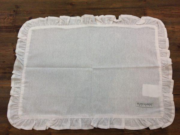 Blanc Mariclò Tovaglietta in cotone bianco con galletta