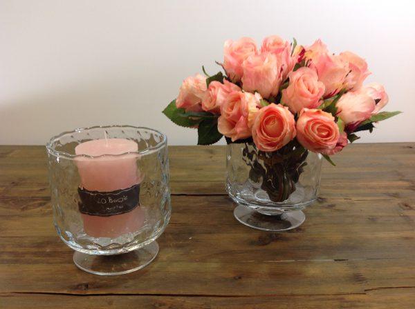 Côté Table Vasoporta candela con piede in vetro ottico