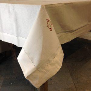 Coccole di Casa Tovaglia in cotone bianca con orlo a giorno