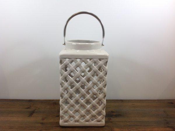 Lorenzongift Lanterna bianca in ceramica intrecciata