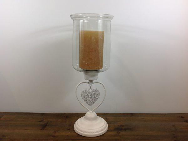 Lorenzongift Porta candela in ferro bianco con cuore e vetro