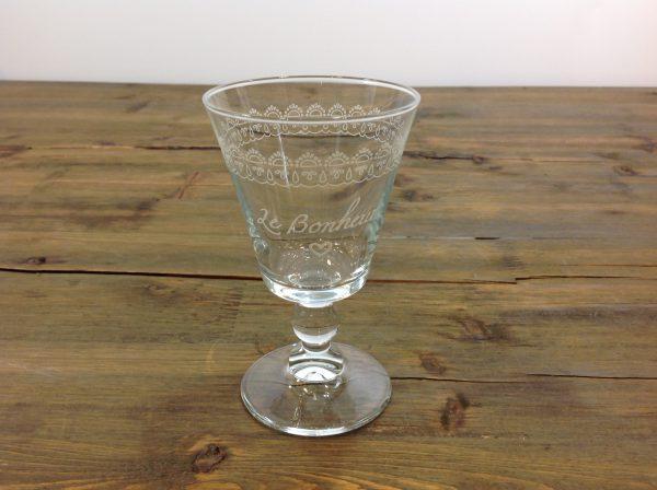 Amadeus set 6 calici in vetro da vino con scritta bianca Le Bonheur