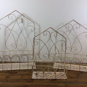 Clayre & Eef Porta vasi da appendere in ferro panna decapato con spalliera