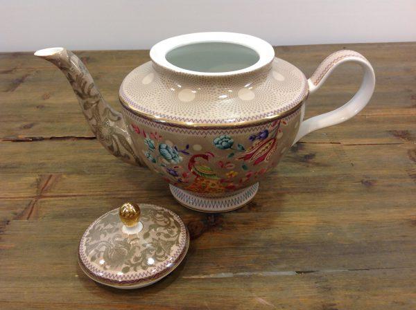 Baci Milano Teiera in porcellana fondo beige filo oro fantasia