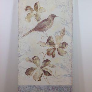 Antic Line Pannello con fiori e uccellino