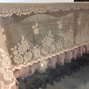 L'Atelier 17 Tovaglia in pizzo rosa antico con frappa Andromeda