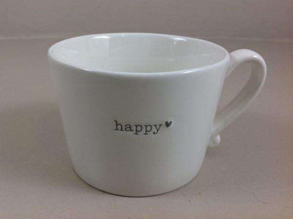 Bastion Collection Tazza da colazione bianca con manico con scritta HAPPY e cuoricino grigi