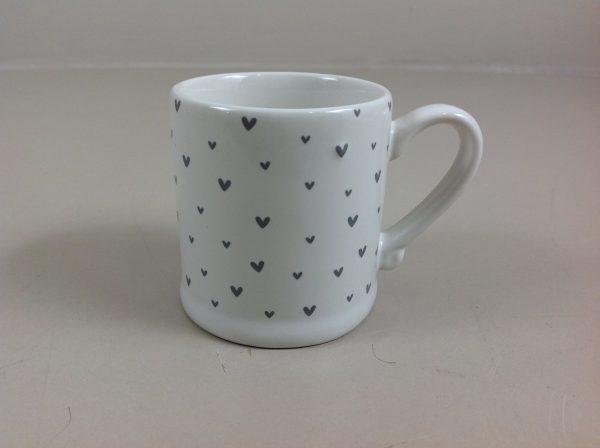 Bastion Collection Mug per caffè piccolo con cuoricini grigi