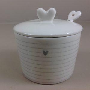 Bastion Collection Zuccheriera in gres bianco con coperchio cuore e cucchiaino con cuore