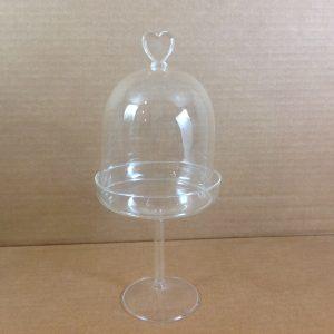 Bruco Alzatina con cloche e cuore in vetro soffiato