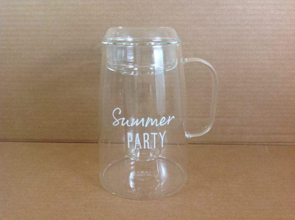 Simple Day Caraffa in vetro con portaghiaccio scritta Summer party