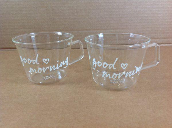 Simple Day Set 2 tazze in vetro con scritta Good morning e cuoricino