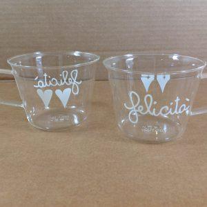 Simple Day Set 2 tazze in vetro con scritta Felicità e 2 cuori