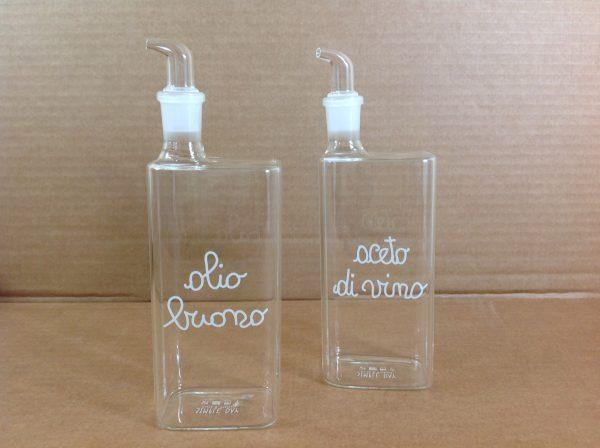 Simple Day Set 2 bottiglie in vetro per olio e aceto