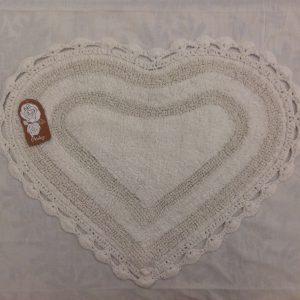 L'Atelier 17 Tappetino a cuore bianco bordo uncinetto