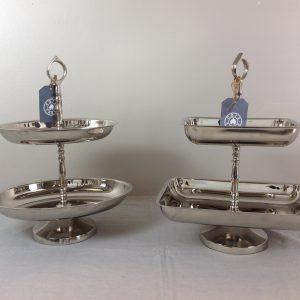 Côté Table Alzata in silver a 2 piani rettangolare