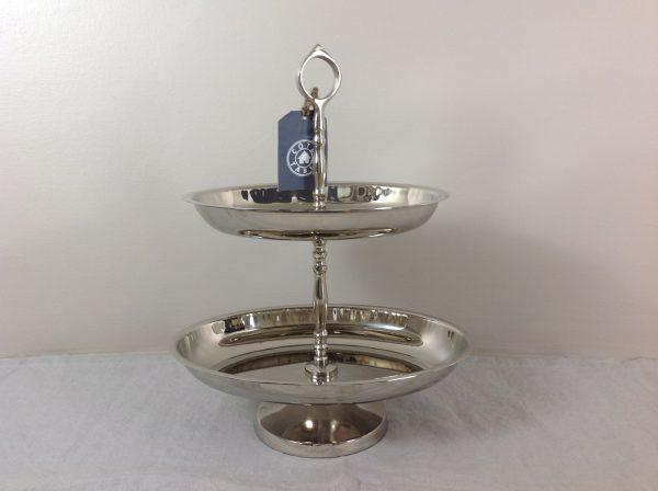 Côté Table Alzata in silver a 2 piani ovale