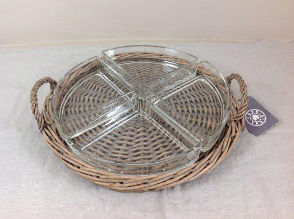 Côté Table vassoio in midollino con 4 scomparti in vetro