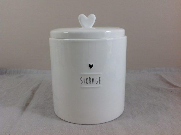 Bastion Collection Barattolo bianco latte in gres con scritta nera Storage
