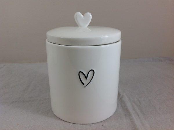 Bastion Collection Barattolo bianco latte con cuore nero vuoto