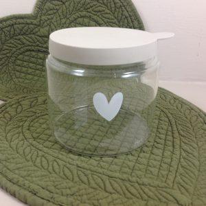 Bastion Collection Barattolo in vetro sottile con cuore con tappo in silicone beige
