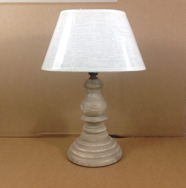 Côté Table Base lampada in legno beige anticato bianco