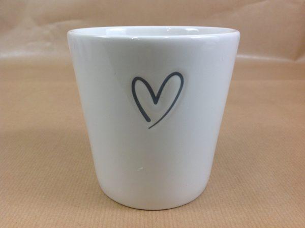 Bastion Collection Bicchiere da latte con cuore grigio