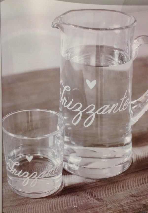 Simple Day Brocca in vetro con scritta bianca Frizzante