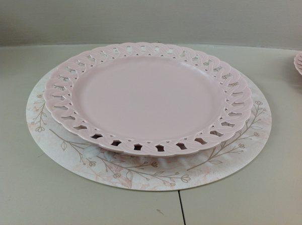 Preziosa Luxury Piatto torta in porcellana rosa bordo intagliato