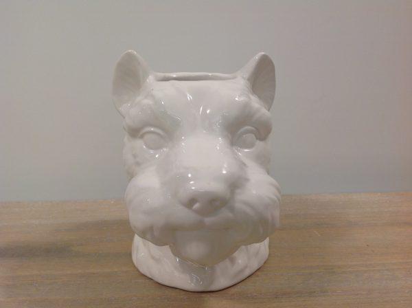 EDG (Enzo De Gasperi) Vaso in ceramica bianca viso di cane